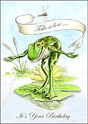 """Take a bow"" Frog Victorian Birthday Card"