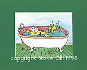 Bathtub Frog Matted Print