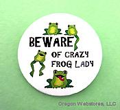 Crazy Frog Lady Pin-On Button