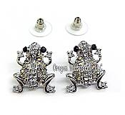 Silver & Crystal Frog Earrings