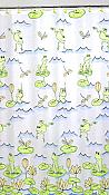 """Frog's Swim"" Fabric Shower Curtain & Hooks Set"