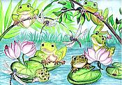 Frogs & Lilypads Blank Card