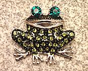 Green Crystal Laughing Frog Pin/Pendant
