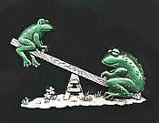 Frogs on Seesaw Pewter Pin