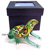 Colorful Speckled Handmade Glass Frog