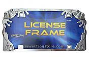 Chrome Treefrogs License Plate Frame