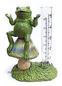 Frog on Mushroom Rain Gauge