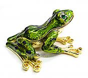 Green Frog Enamel & Crystal Jewel Box