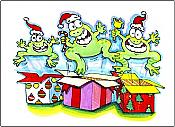 Leaping for Joy Frog Holiday Cards, box of 10