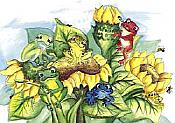 Frogs & Sunflowers Blank Card