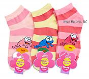 Three Pairs Shorty Frog Socks: Pink Mix