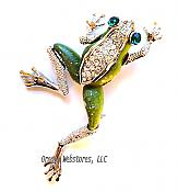 Green and Silvery Crystal Leaping Frog Pin