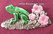 Frog with Flowers Pewter Pin