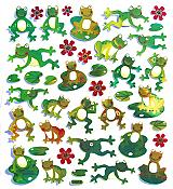 Shiny Mylar Fun Frog Stickers