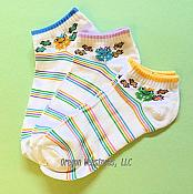 Shorty Frog White Stripey Socks, 3 pairs