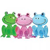 Set of 3 Colorful Inflatable Frogs