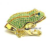 Striped Crystal Golden Frog Jewel Box
