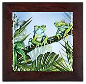 Green Jungle Frogs Trivet