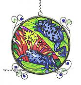 Two Blue Dart Frogs Suncatcher