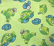 Fabric: Light Green Pond Frogs Flannel