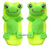 Knit Neon Frog Slipper Socks