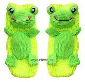 Knit Neon Frog Slipper Socks