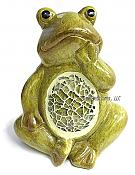 Mosaic Belly Hand on Chin Frog Figurine