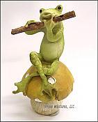 Frog Playing Flute on Mushroom
