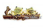 Gold and Crystal Frogs on Branch Pin