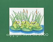 Lilypad Frogs Matted Print