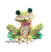 Pink Bowtie Whimsical Crystal Frog Pin