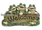 Funny Frog Trio Welcome Statue
