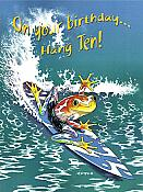 """Hang Ten"" Surfing Frog Birthday Card"