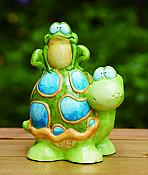 Whimsical Turtle and Frog Garden Statue
