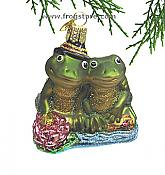 Loving Frog Couple Glass Ornament