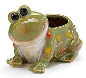 Green Frog Garden Pot