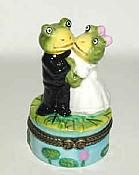 Frog Bride & Groom Porcelain Box