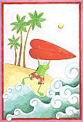 """""""Kowabunga, I luv ya"""" Frog Valentine's Card"""