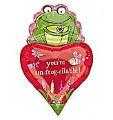 """You're Un-frog-ettable!"" Frog & Heart Balloon"