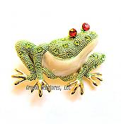 Lime-Green Elegant Crystal Frog Pin