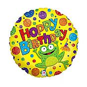"""Hoppy Birthday"" Polkadot Frog Balloon"