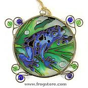 Blue Dart Frog Glass Suncatcher