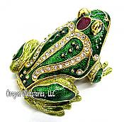 Ornate Enamel & Crystal Bullfrog Box