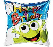 """Happy Birthday"" Leaping Frog Square Mylar Balloon"