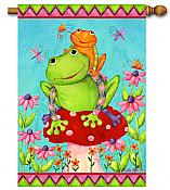 Mushroom Frogs Large Flag