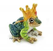 """Kiss"" Mini Porcelain Frog Prince with Crown"