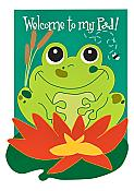 """Welcome To My Pad"" Applique Frog House Flag"