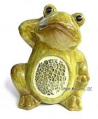 Mosaic Belly Hand on Head Frog Figurine
