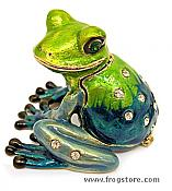 Happy Sitting Frog Jeweled Enameled Box