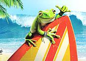 Surfs Up Frog Birthday Card